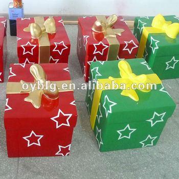 Fiberglass Christmas Decorations,Christmas Gift Box,Bowknot Gift ...
