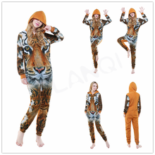 ALQ-A082 Warm thick flannel winter tiger printed custom made pajamas