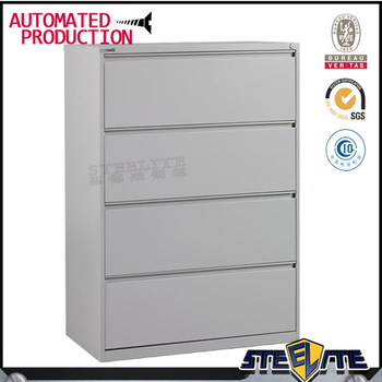Horizontal 4 Drawer Metal Locking Cabinet / 4 Tier Lateral File Storage  Cabinet