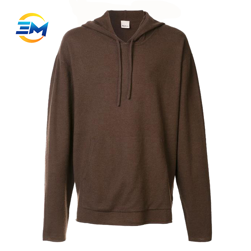 Custom plain tall brown loose spring cotton pullover hoodie