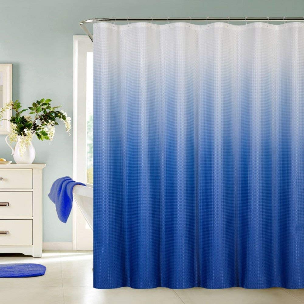 """13 Piece Luxurious Waffle Weave Fabric Ombre Shower Curtain 70""""x""""72 Set. (Blue)"""