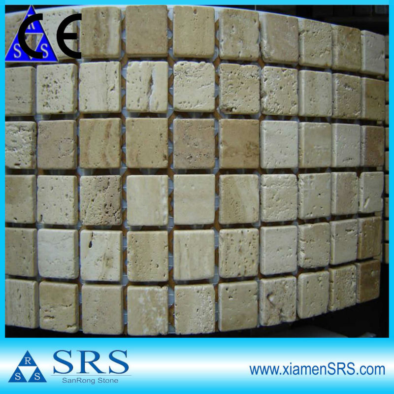 Tumbled travertine mosaic