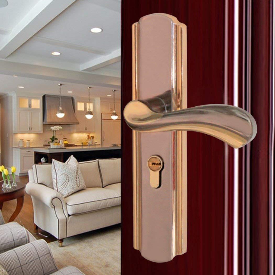Bedroom Kitchen Muted Luxury Door Lock Hardware Handle Kits Home Improvement Mechanical Lock Door Hardware Aluminum Alloy,A2