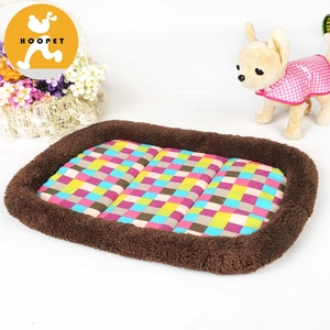 Pet Plush Bed Oval Plaid Dog Bed Cushion Cat Mat