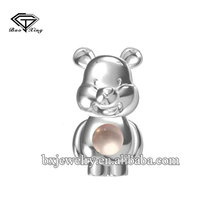 2017 new trendy products brilliant silver pearl Winnie the Pooh cage pendant