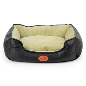 2018 Heated Cowhide Super Fine Leather Square Unique Dog Kennel 3D Stuffed Cotton Pet Kennel