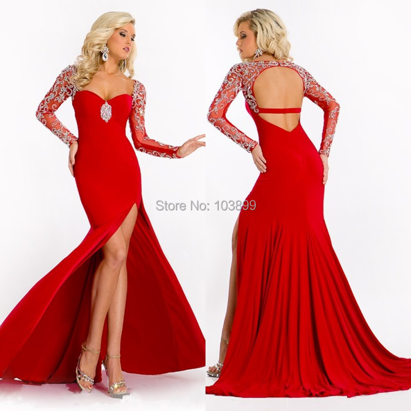 Get Quotations · Sexy yet Contemporary Sheath Sweetheart Red Front Slit  Backless Women Party Gowns Long Prom Dresses with 0b8ef35ee8aa