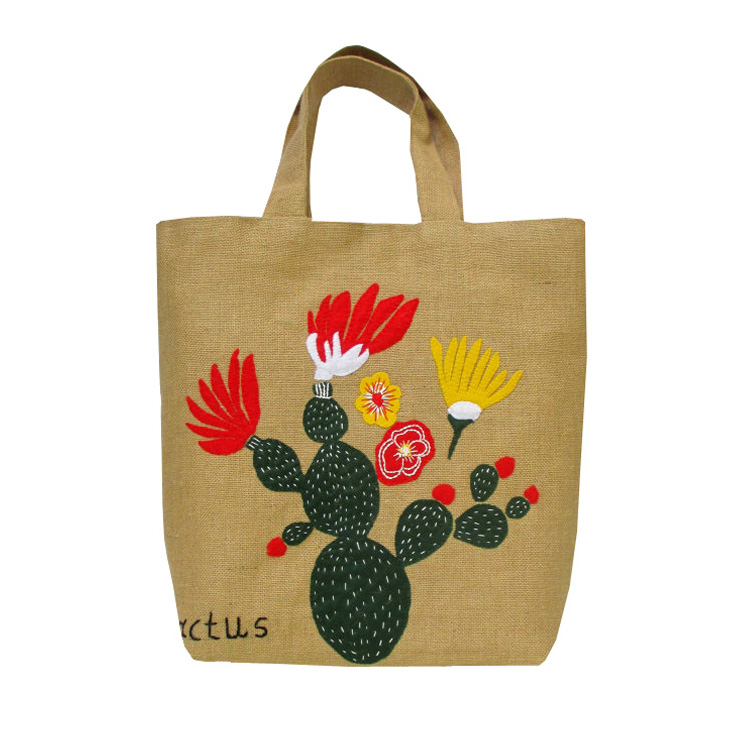 wholesale natural promotional jute shopping bag tesco embroidery jute bag