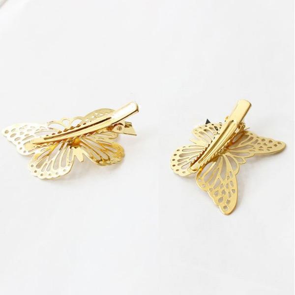 Горячая новые сладкая прекрасный золото бабочка выдалбливают левый зажим для волос коготь волос дети заколки подарок