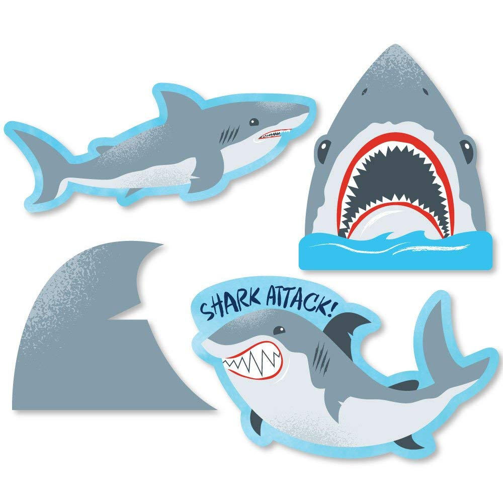 Big Dot of Happiness Shark Zone - DIY Shaped Jawsome Shark Party or Birthday Party Cut-Outs - 24 Count