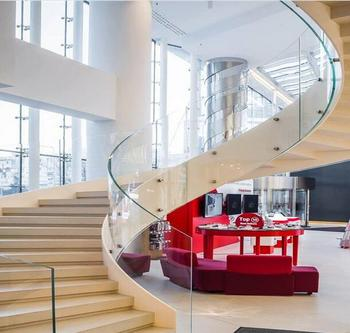 Beautiful Luxury Glass Staircase Curved Glass Railing Stairs