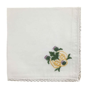 factory direct sale girl's white pocket square embroidered handkerchief