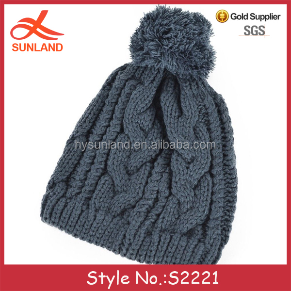 S2221 new men women winter warm knitting pattern beanies twisted plain bobble hats for sale