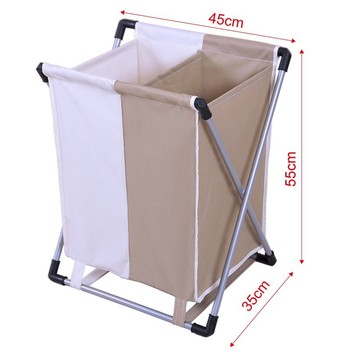 600d Two Compartments Folding Laundry Basket