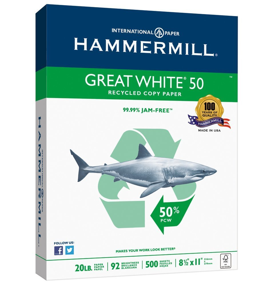 Hammermill Paper, Great White 50% Recycled Copy Paper, 20lb, 8.5 x 11, Letter, 92 Bright, 500 Sheets / 1 Ream (086780), Made In The USA