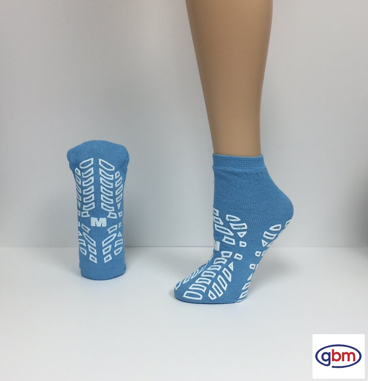Secure Step Double-Sided Non Slip Comfort Safety Sock - Blue - Medium (6 Pair) - Men's Size: 4-5 / Women's Size: 5-6
