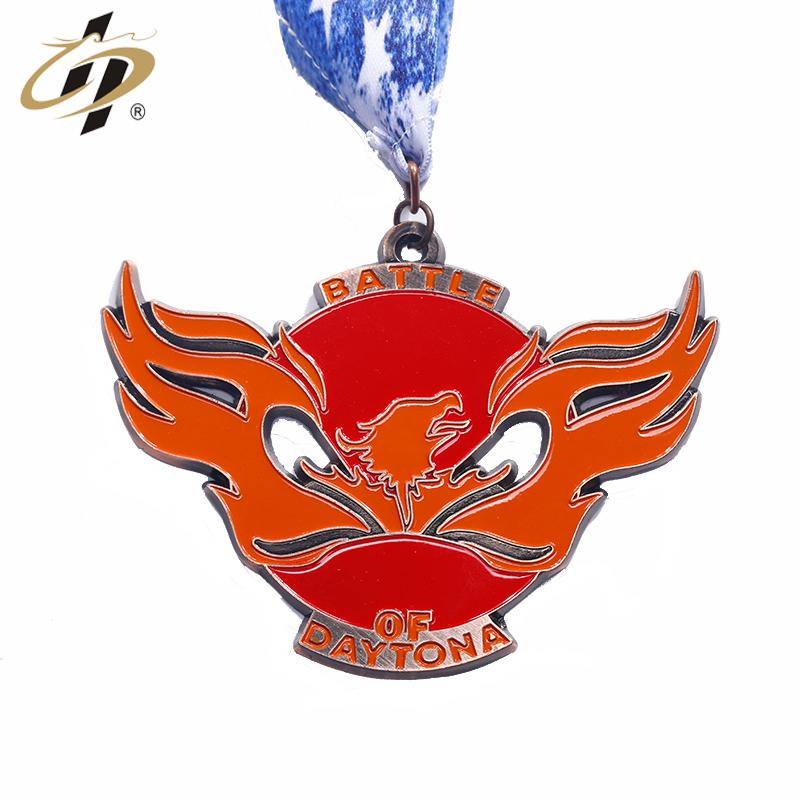 Promotional design custom finisher enamel logo military souvenir award medals with ribbon