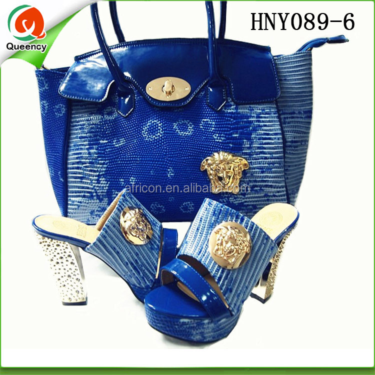 italian arrival Nigeria African matching royal New zapatos 2016 shoes mujer de bag casade leather style blue vEvqnxg