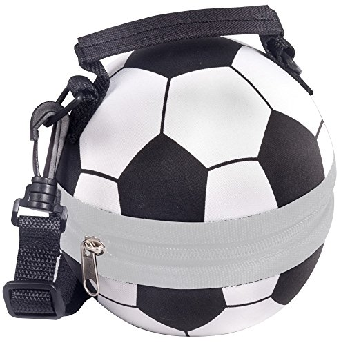 Living Well Innovations - Childrens Insulated Lunch Box, Soccer Ball - Black & White, Compact, Adjustable Shoulder Strap, Lightweight, Back Pack Clip, Easy To Clean, Fun Toy