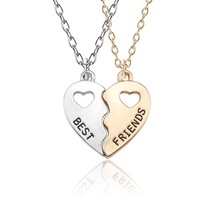 Silver/Gold plated couple heart shape custom wholesale stainless steel best friends forever necklace