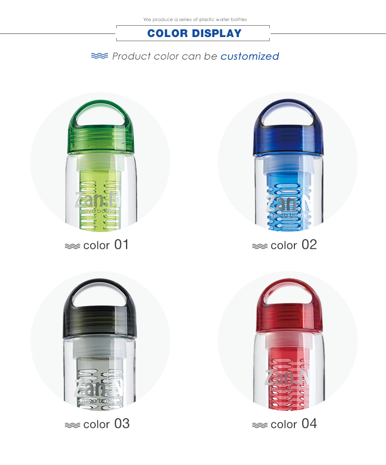 750 ml blue tritan filter fruit infuser water bottle