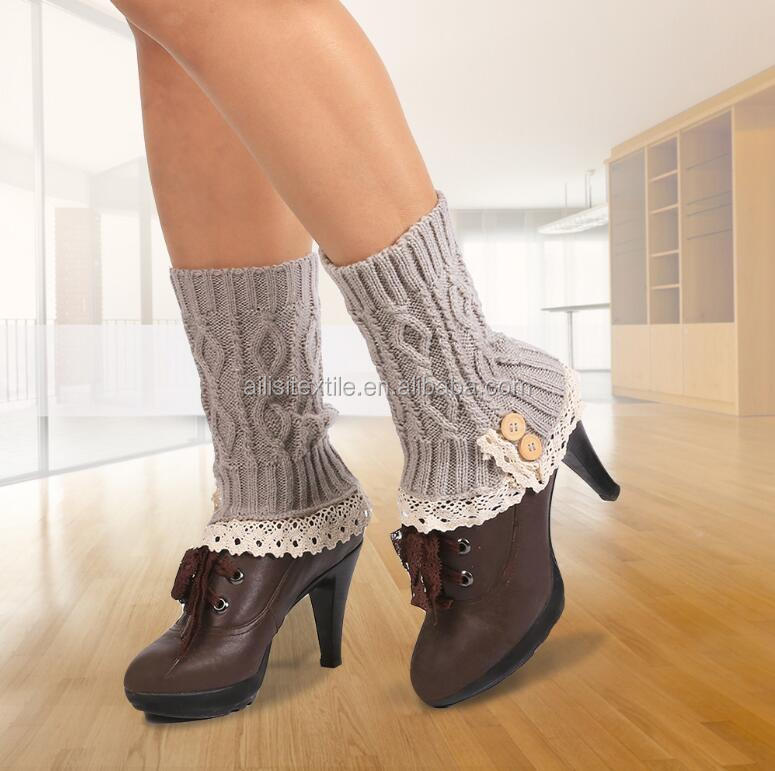 Woman Girls New Patterned Boot Cuffs/Crochet Items Lace Boot Toppers/Hand Knitted Long Warmer