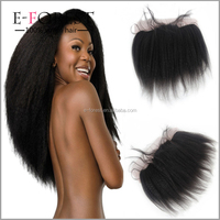 Coarse Yaki Human Hair Lace Frontal 13x4Inch Brazilian Kinky Straight Lace Frontal Closure Bleached Knots Free 3 Part