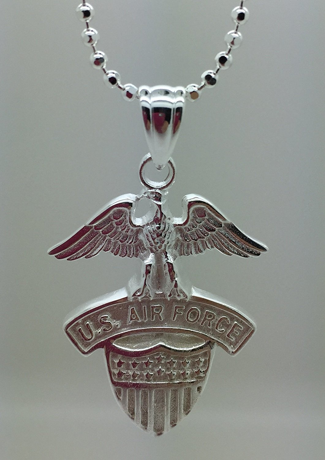 "US Air Force .925 Silver Pendant Necklace - Gifts For Men And Women - USAF Military Jewelry - United States Air Force Charm And Chain - USAF Emblem (24"" Chain And Pendant, .925 Sterling Silver)"
