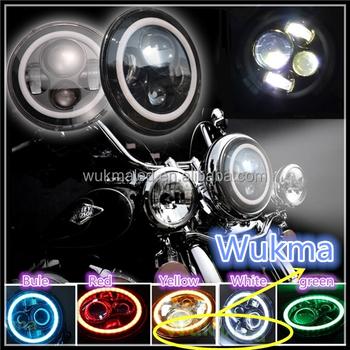 "7"" Led Headlight Head Angel Light Lamp Harley Road King Softail ..."