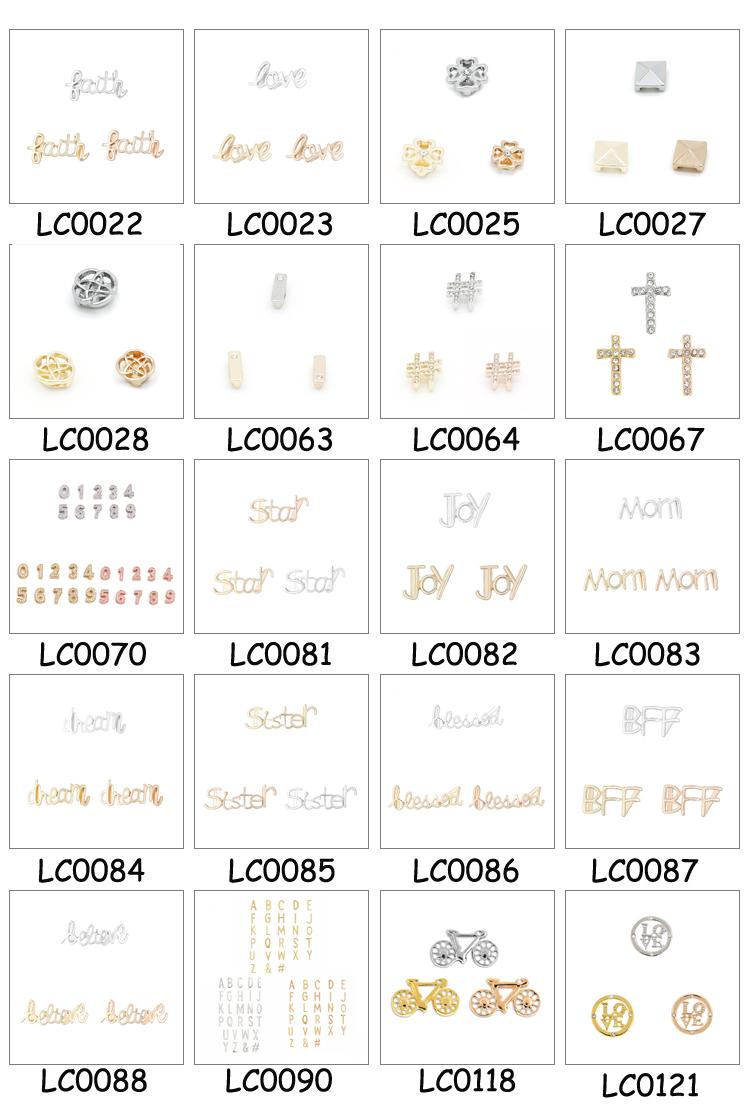 Bracelet Bijoux Charme de Glissière En Gros Plaqué Or 26 Lettres Alphabet Charme