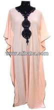 Hand Emboridered beaded Abaya in UV resistant bamboo or satin or polyster or organic cotton