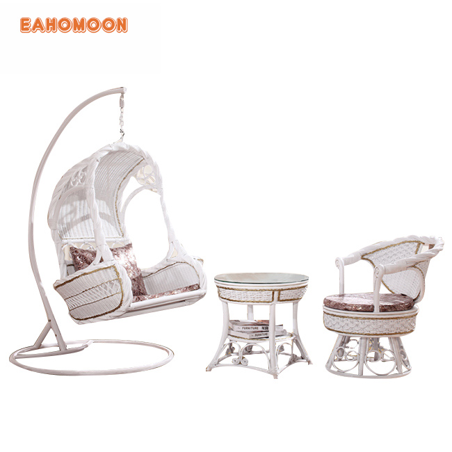 Waterproof Comfort Adult Rattan Egg Chair Portable Wrought Iron Swing Chair