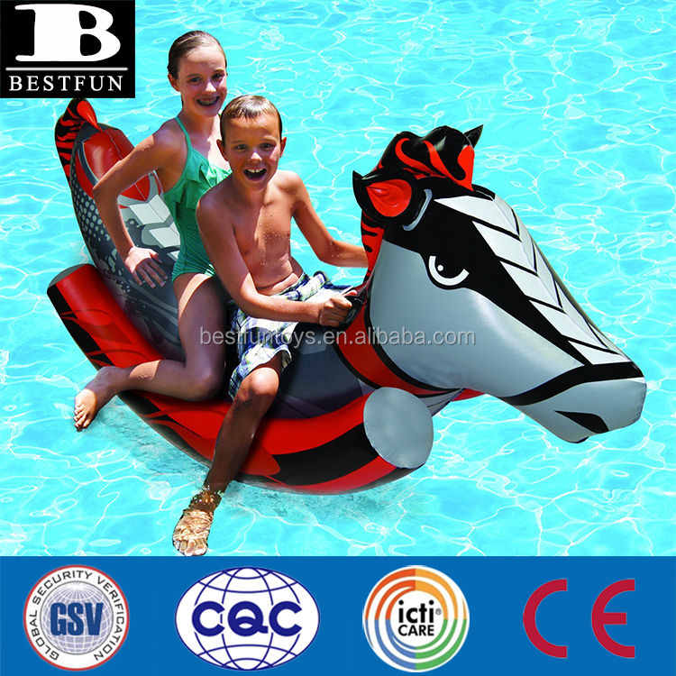 Durable vinyl inflatable Rockin' Horse Toy plastic foldable riding horse animal riders custom animal double pool rider