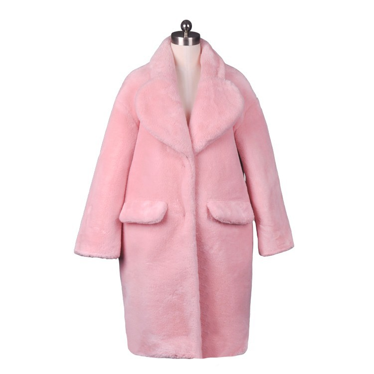 2014 Women Elegant Fashion Long Faux Fur Coat