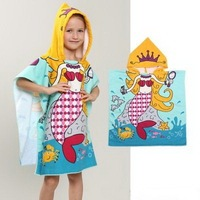 Hooded Beach Towel New Children Cute Cartoon Hooded Cloak Beach Towel Animal Printed Microfiber Kids Swimming Bath Towel