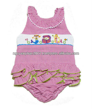 01058fa80d9af Girls Hot Pink Gingham Smocked Mermaid - Treasure Chest Ruffle Swimsuit