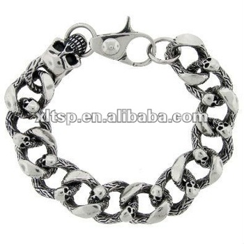 Ss07 Men Stainless Steel Skull Bracelet