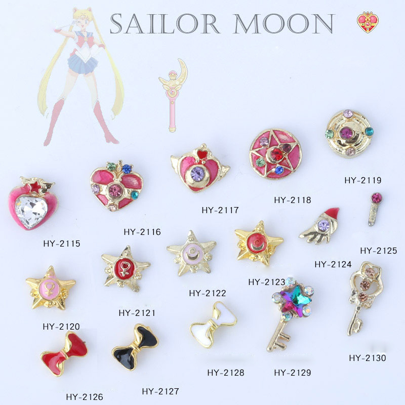 Wholesale Colorful Different Shapes Nail Art Charms Sailor Moon Design Alloy 3d Nail Art Rhinestone