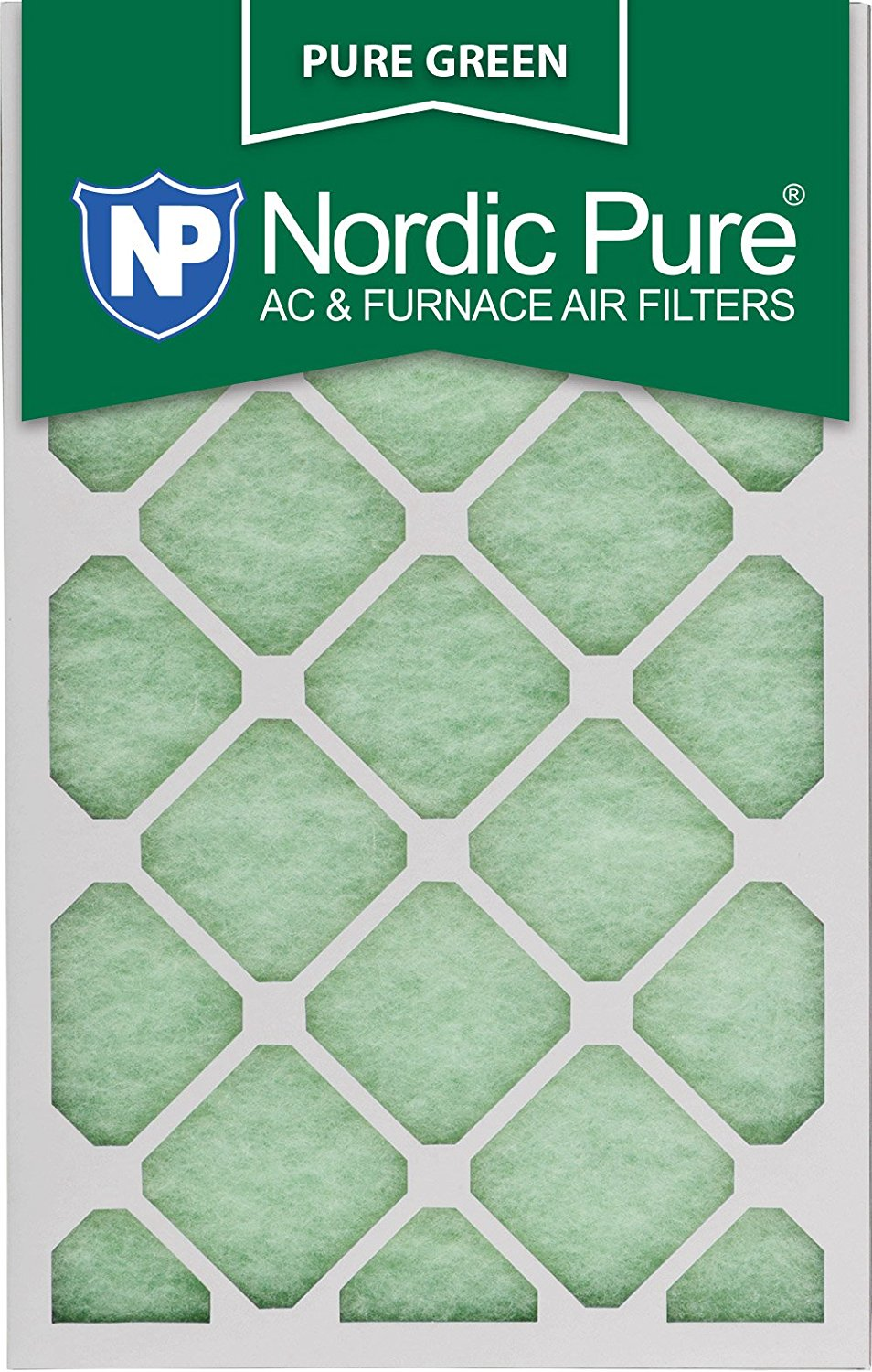 "Nordic Pure 20x25x1PureGreen-3 AC Furnace Air Filters, 20 x 25 x 1"", Pure Green"