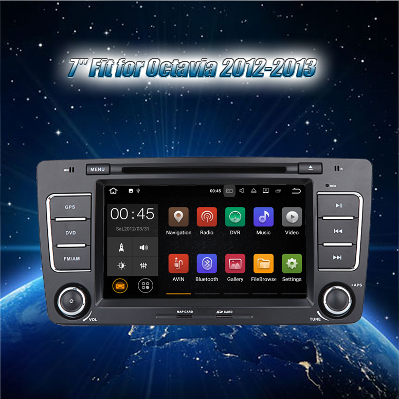 "Krando touch screen Android 8.1 7"" car dvd radio gps navigation for Skoda Octavia 2012-2013 audio multimedia system KD-SO013"
