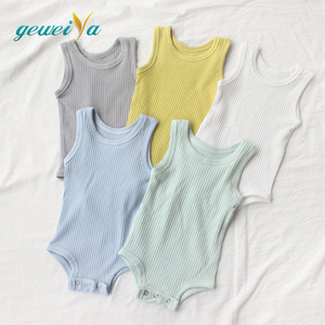 plain organic cotton rib baby clothes romper