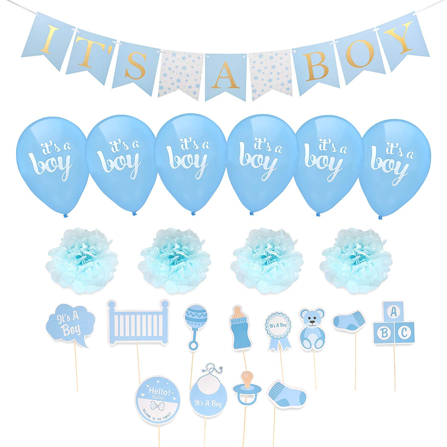 Boy Baby Shower Decorations - Baby Shower Party Decorations, Baby Shower Decorations Set, Blue, Gold Baby Shower Decorations, Boy Baby Shower Decor - by Honest Baby