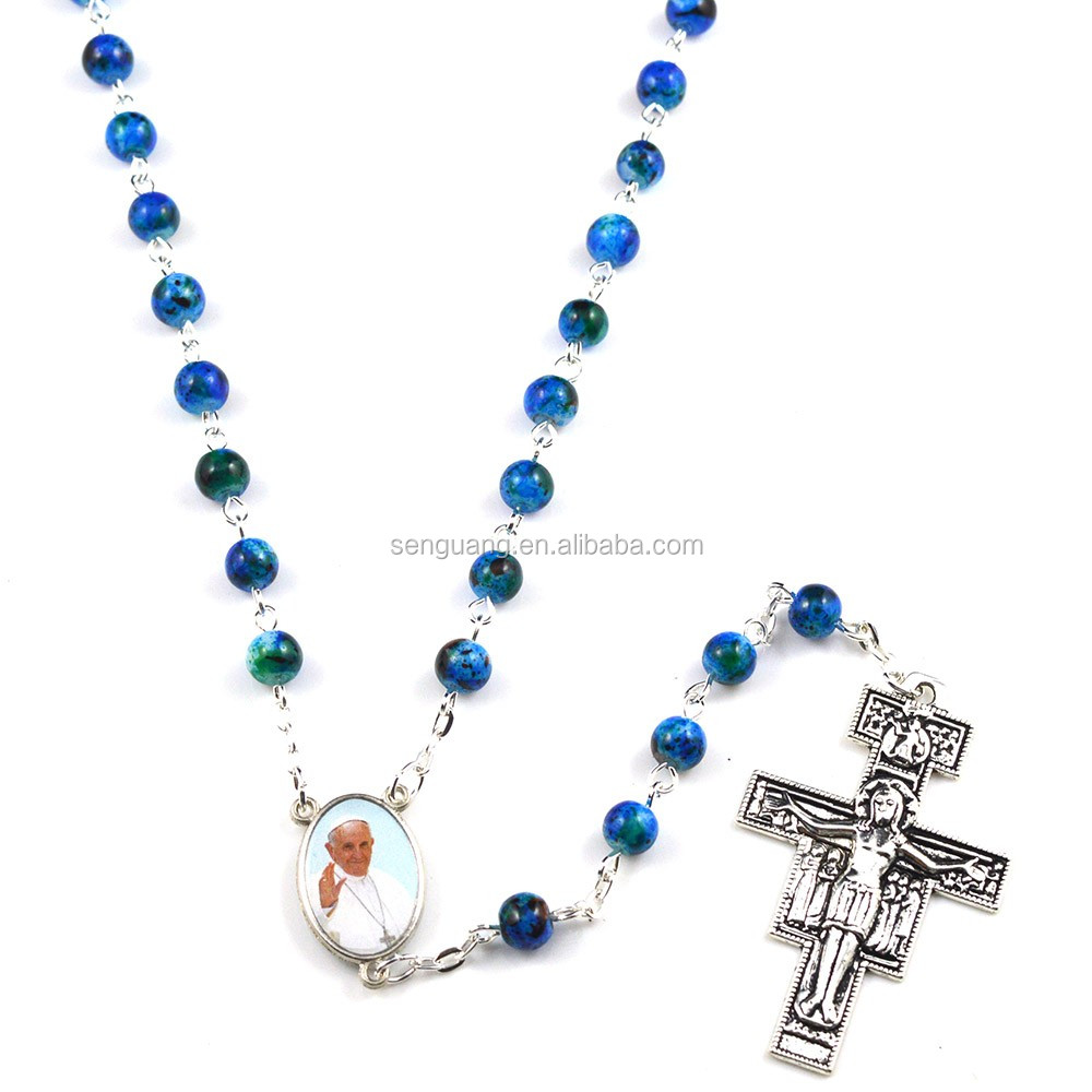 Wholesale Catholic glass beads Sanit Pope Italian Holy rosary silver chain necklace
