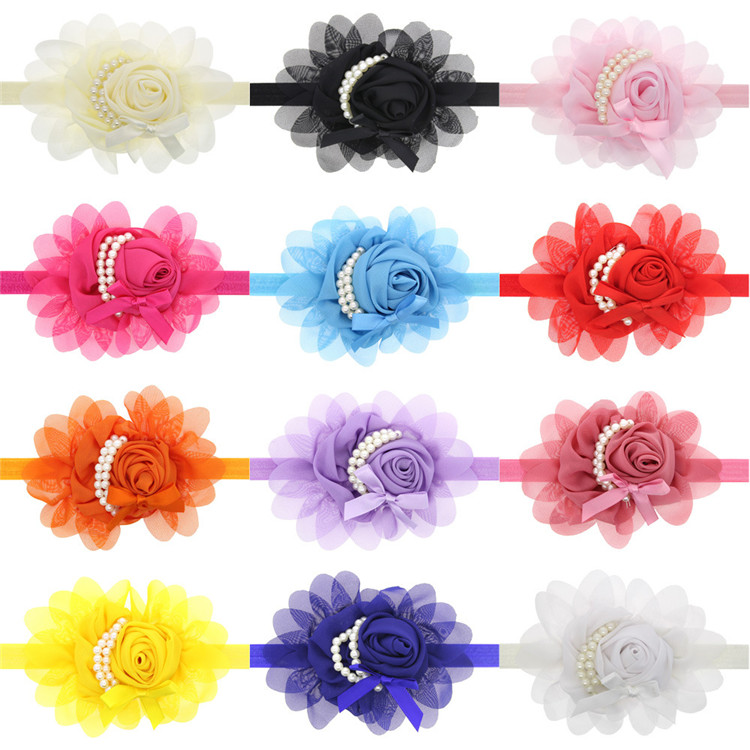Children Infant Baby Toddler Girls Rose Pearl flower Headband Headwear Hair Band Head Piece Accessories