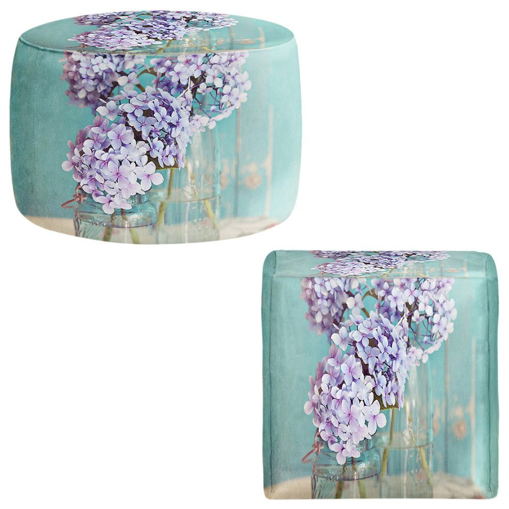 DiaNoche Designs Foot Stools Poufs Chairs Round or Square from by Sylvia Cook - Hydrangeas in Mason Jars