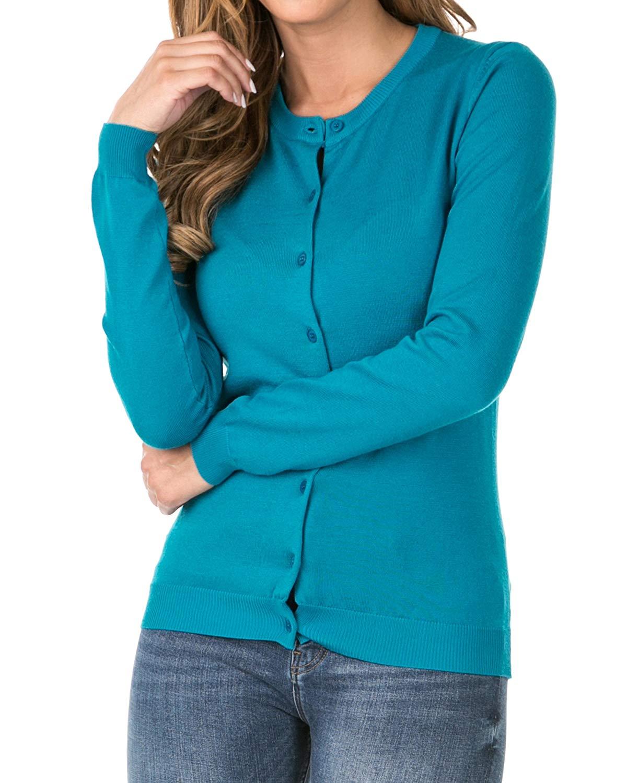 021da1f3ac Get Quotations · Nolabel Women s Classic Botton Down Long Sleeve Round Crew  Neck Kint Cardigan Sweater (Plus Size