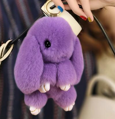 Real Rabbit Fur Keychain Cute Mini Fluffy Rabbit Doll Pom Pom Key Chains  Keyring For Women Bag Charm 357b2ab80