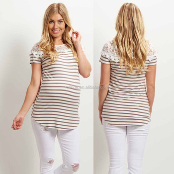 e59d2f4a04e Custom Maternity Tops, 95% Modal 5% Spandex Striped Short Sleeve Lace  Neckline Maternity