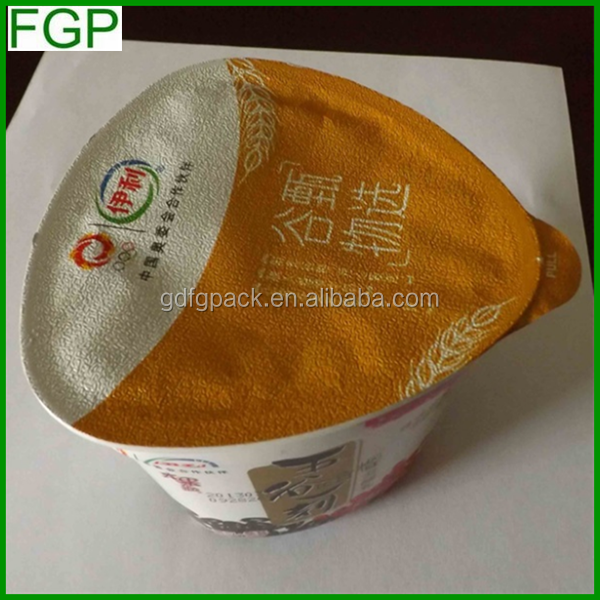 Guangdong factory supply 99mm single side embossed easy peel precut aluminum foil sealing lids made in China