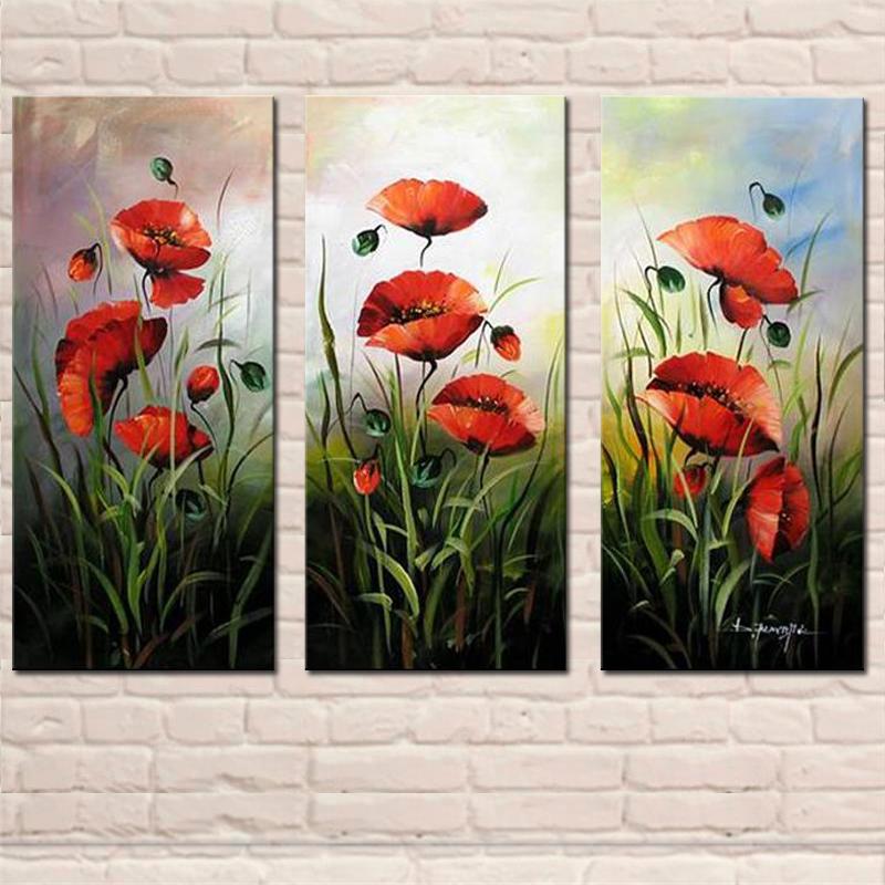 achetez en gros fleur rouge peinture l 39 huile en ligne des grossistes fleur rouge peinture. Black Bedroom Furniture Sets. Home Design Ideas